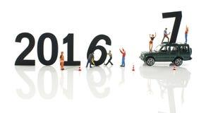 Miniaturmarionetten bereit zu 2017 Stockbild