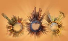 Miniaturowa Ziemska planeta z ważnymi budynkami i przyciąganiami miasto Fotografia Stock