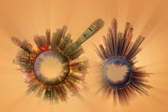 Miniaturowa Ziemska planeta z ważnymi budynkami i przyciąganiami miasto Zdjęcia Stock