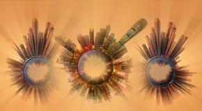 Miniaturowa Ziemska planeta z ważnymi budynkami i przyciąganiami miasto Obrazy Royalty Free