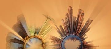 Miniaturowa Ziemska planeta z ważnymi budynkami i przyciąganiami miasto Obrazy Stock