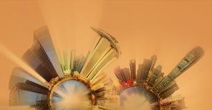 Miniaturowa Ziemska planeta z ważnymi budynkami i przyciąganiami miasto Fotografia Royalty Free