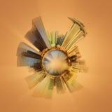 Miniaturowa Ziemska planeta z ważnymi budynkami i przyciąganiami Singapur Zdjęcia Stock
