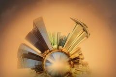 Miniaturowa Ziemska planeta z ważnymi budynkami i przyciąganiami Singapur Obrazy Royalty Free