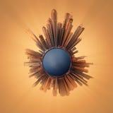 Miniaturowa Ziemska planeta z ważnymi budynkami i przyciąganiami w Dubaj Obrazy Royalty Free