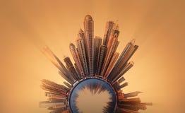 Miniaturowa Ziemska planeta z ważnymi budynkami i przyciąganiami w Dubaj Fotografia Stock