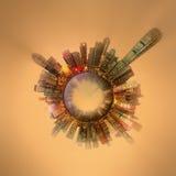 Miniaturowa Ziemska planeta z ważnymi budynkami i przyciąganiami w Hong Kong Obrazy Royalty Free