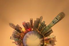 Miniaturowa Ziemska planeta z ważnymi budynkami i przyciąganiami w Hong Kong Zdjęcie Stock