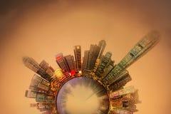 Miniaturowa Ziemska planeta z ważnymi budynkami i przyciąganiami w Hong Kong Zdjęcia Stock