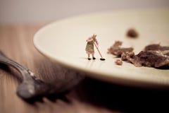 Miniaturowego gospodyni domowej domycia brudny naczynie Makro- fotografia fotografia royalty free
