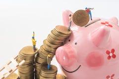 Miniaturowi ludzie drużyn próbują ruszać się monety od sterty świnia Zdjęcie Royalty Free