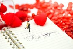 Miniaturowi ludzie: Pary i valentine dekoracj charakteru dowcip Zdjęcia Royalty Free