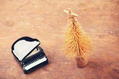 Miniaturowy jedlinowego drzewa czerni pianino fotografia royalty free