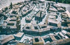 Miniaturowy miasto model Sopron, analogowy filtr obraz royalty free