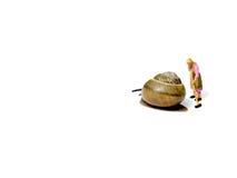 Miniaturputzfrau, die hinter der Schnecke lokalisiert auf Weiß sich lehnt Stockfotos