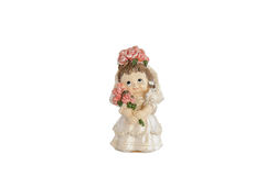 Miniaturstatue der netten Braut mit Blumen Lizenzfreies Stockbild