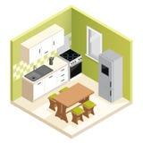 Miniaturwohnungsküchen-Vektorillustration Vektor Abbildung