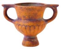Miniatuur ceramische bruine vaas Stock Fotografie