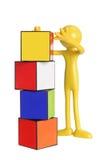 Miniatuur Cijfer met Kubussen Stock Afbeeldingen