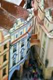Miniatuur hoogste mening van Oude Stad, Praag, Tsjechische Republiek met toeristen Stock Afbeeldingen