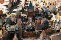 Miniatuur middeleeuws steendorp stock afbeelding