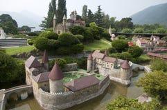 Miniatuur model (kasteel) in minipark Royalty-vrije Stock Foto