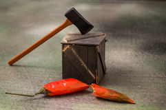Miniatuur realistisch van besnoeiingsspaanse pepers Royalty-vrije Stock Afbeelding