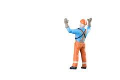 Miniatuur van de menseningenieur en arbeider beroep Stock Fotografie