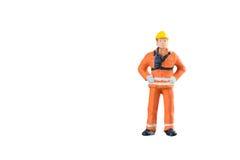 Miniatuur van de menseningenieur en arbeider beroep Stock Afbeelding