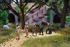 Miniatuur van Evolutietheorie van de mens Menselijke ontwikkeling stock fotografie