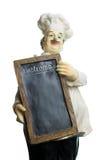 Miniatuurchef-kok met menu Stock Afbeelding