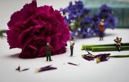 Miniatuurcijfers die van een Mening van Bloemen genieten Royalty-vrije Stock Foto