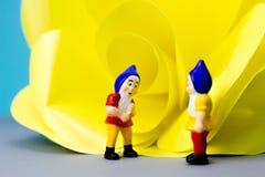 Miniatuurdwergen met reuzebloem Royalty-vrije Stock Foto's