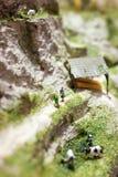 Miniatuurmensen: vrouw twee die zich op een bergweg bevinden en dichtbij het weiden van koeien spreken Macrofoto, ondiepe DOF Royalty-vrije Stock Foto's