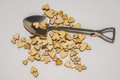 Miniatuurschop en houten harten Royalty-vrije Stock Foto's