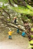 Miniatuurwerklieden die gevallen bomen ontruimen Royalty-vrije Stock Afbeeldingen