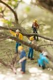 Miniatuurwerklieden die gevallen bomen ontruimen Royalty-vrije Stock Fotografie