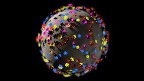 Miniatyren 3d framför planeten av tecknad filmfärgblommor som isoleras på svart bakgrund stock illustrationer