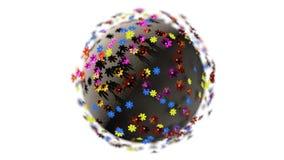 Miniatyren 3d framför planeten av tecknad filmfärgblommor som isoleras på vit bakgrund stock illustrationer