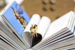 Miniatyrfolk: Par av förälskelse som sitter på boken, utbildning Arkivfoto