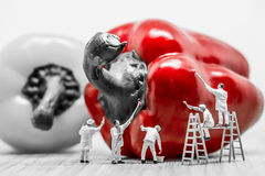 Miniatyrmålare som färgar spansk peppar Storen specificerar! Arkivbild
