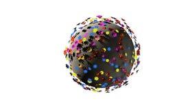 Miniatyrplanet 3d av små färgblommor som isoleras på vit bakgrund stock illustrationer