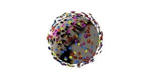 Miniatyrplanet 3d av tecknad filmfärgblommor som isoleras på vit bakgrund royaltyfri illustrationer