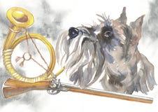 Miniatyrschnauzeren, designer för jägarehundkapplöpningkortet, den redigerbara logoen, kan du skriva in din logo eller text Fotografering för Bildbyråer