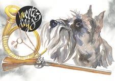 Miniatyrschnauzeren, designer för jägarehundkapplöpningkortet, den redigerbara logoen, kan du skriva in din logo eller text Arkivfoto