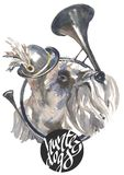Miniatyrschnauzeren, designer för jägarehundkapplöpningkortet, den redigerbara logoen, kan du skriva in din logo eller text Royaltyfri Fotografi