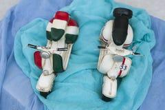 Miniatyrsparkcykelmotorcyklar Arkivfoton