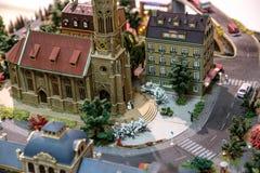 Miniaure Vilnius för järnväg museum modeller Arkivfoton