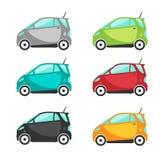 Miniauto's of elektrisch auto vastgesteld vectorontwerp Stock Foto's