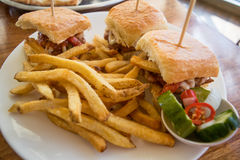 Miniburger mit Pommes-Frites Stockbild